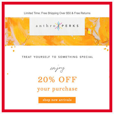 ANTHROPOLOGIE 20% OFF C0upon Promo Code Exp 2/29/20 **INSTANT DELIVERY**