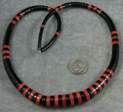 "Natural Jet Lignite & Red Coral Beads 4-11mm Graduated Heishi 18"" strand China"