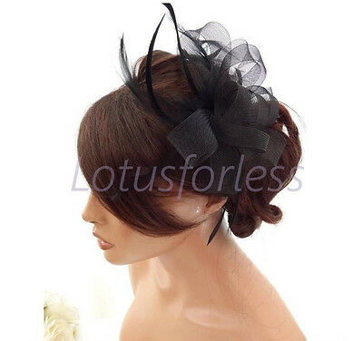 Black Net Bow and Feather Hair Comb Slide Fascinator Hatinator Races