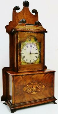 Rare Antique French 8 Day Mahogany Inlaid Mantel Clock With Platform Escapement