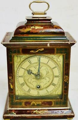 Antique English Astral's 8 Day Red Chinoiserie Mantel Clock Platform Escapement