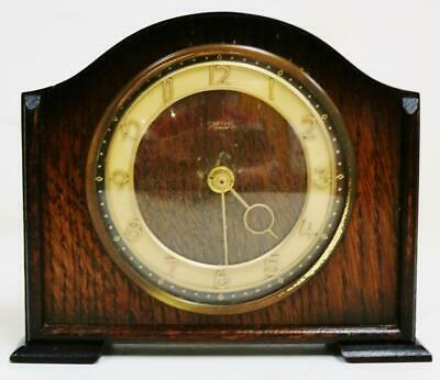Antique English C1930's Smiths Art Deco 8 Day Floating Balance Mantel Clock