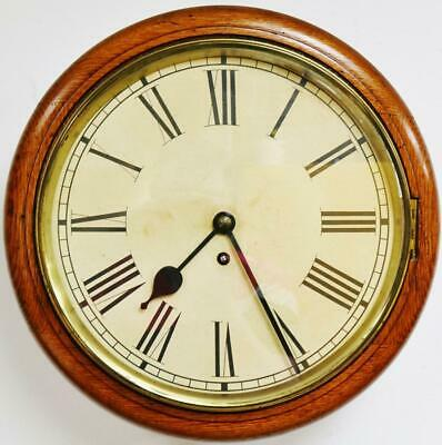 Antique English 8 Day Single Chain Fusee Dial Wall Clock, Station Kitchen Clock