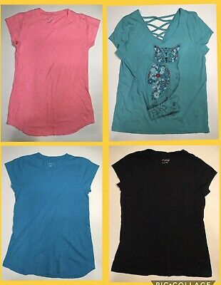 Lot of 4 Girls Shirts Size 12/14 - Mudd - bcg - Blue Teal Pink Black Tops - Owl