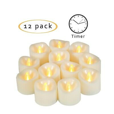 12 PCS Flameless LED Votive Candles Battery Operated Tealights Flicker w/Timer