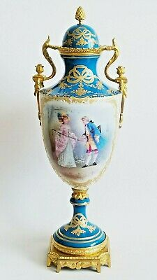 19C French Sevres Porcelain Gilt Bronze Vase Urn
