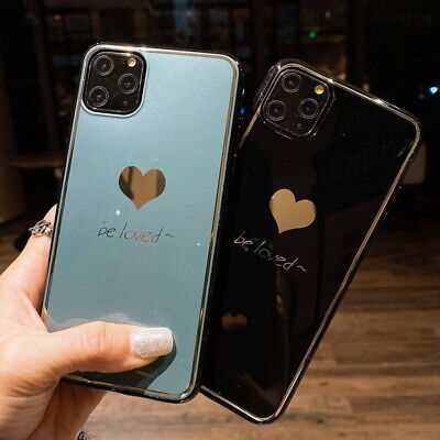 For iPhone 11 Pro Max XS XR X 8 7 Plus Plating Soft Couple Love Heart Case Cover
