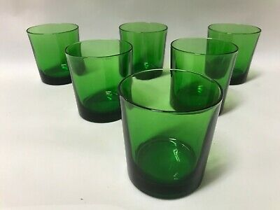6 Piece Set Coloured Glasses Glass Pattern Vintage Retro Green Bottle Emerald