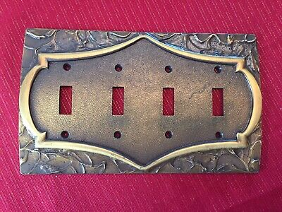 RARE, 4 Gang Solid Brass, Light Switch, Plate Cover, Vintage