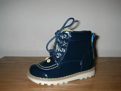 Girls Next Navy Patent Laces Chukka Boots Size 6/23 Infant