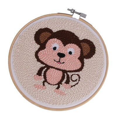 Punch Embrodiery Kit with Basic Tools for Beginners Kids - Cute Monkey Pattern