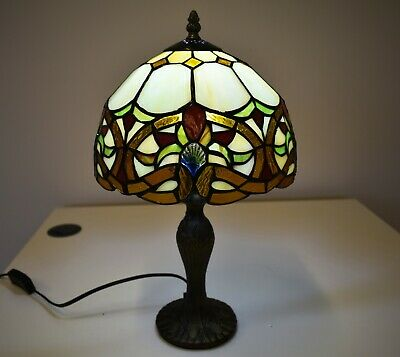 """Hand Crafted Antique Design Beautiful Tiffany Table Lamp Stained Glass 10"""" Shade"""