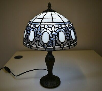Antique Tiffany Style Table Lamp Hand Crafted Stained Glass Shade Home Decor