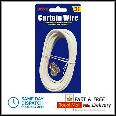 3 Metre Long White Window Net Curtain Voil Wire Cord Cable With Hooks & Eyes