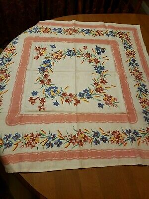 """Fabulously Colorful Vintage Table Cloth 35"""" x 35""""  Floral 50s"""