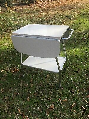 MCM Gray Drop Leaf Formica & Chrome Bar Cart Tea 50s 1950s