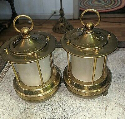 PAIR SIGNED CHASE ART DECO BRASS MINI LANTERN LAMPS 193O's BATTERY OPERATED