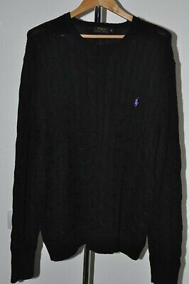 POLO RALPH LAUREN MENS GENUINE CREW NECK CABLE KNIT JUMPER Size XL BLACK