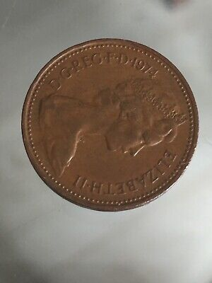 A 1974 British Bronze ELIZABETH II One new penny coin