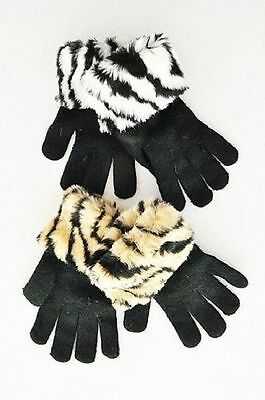 Thick Cozy Ribbed Knitted Gloves w/ Animal Faux Fur Cuffs. Black OR Beige.