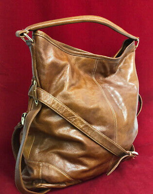 *ZINA EVA Large Brown Leather Gold Royal Blue Slouchy Hobo Tote Shoulder Purse*