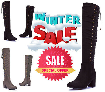 Womens Faux Suede Grey Boots | Mid Heel Over The Knee Boots VEGAN Black Charcoal