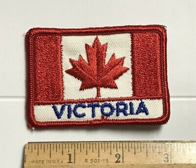 Victoria BC British Columbia Canada Canadian Flag Red White Embroidered Patch
