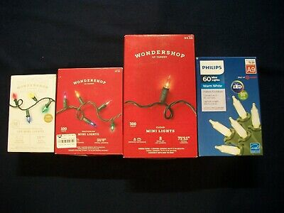 Lot of 4 Boxes Wondershop & Philips LED & Non Mini Lights Green Wire Christmas
