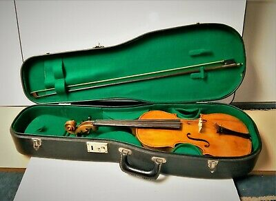 Vintage German Stradivarius Copy 4/4 Violin with Bow and Case Ready To Play