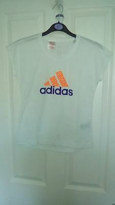 Bnwt Girls White Adidas Climalite T Shirt With Orange Adidas Logo
