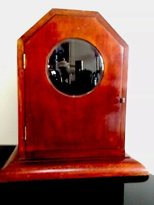Antique Mantel Clock Rosewood Wood Case with Bevelled Glass and Hinged Doors