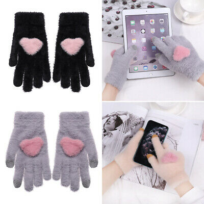 Elastic Winter Knitted Gloves Full Finger Touch Screen Mittens Thicken Warm