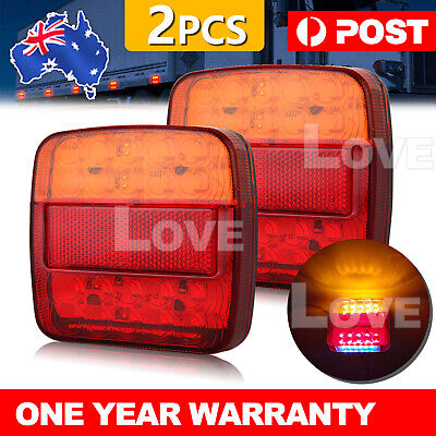 2x Square Led Stop Indicator Trailer Tail Lights Truck Caravan Lamp Number Light