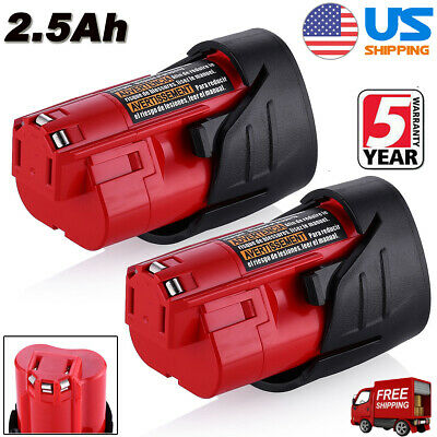 2X For Milwaukee M12 12V 12-Volt Lithium ion 2.5AH 48-11-2420 Battery 48-11-2411
