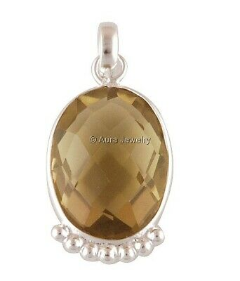 Smoky Quartz Gemstone Solid 925 Sterling Silver Pendant Necklace Jewelry P2060-1