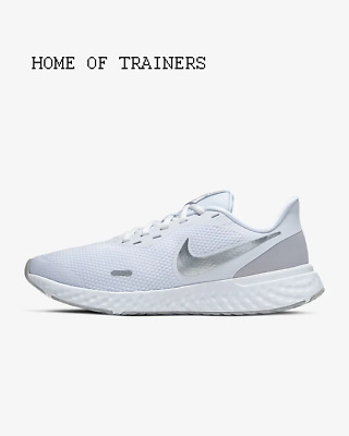 Nike Revolution 5 White Pure Platinum Wolf Grey Girls Women's Trainers All Sizes