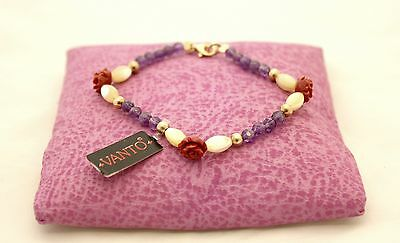 Bracelet Vanto Gioielli Silver Blush with Carnelian, Amethyst and Paste Coral