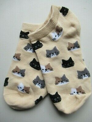 NEW Ladies Girls (1 Pair) Tabby Black Calico Cat Face Trainer Socks FREE POSTAGE