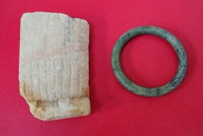 Unusual Piece Of Ancient Stone Possibly Egyptian? & Hard Stone Green Bangle Cuff