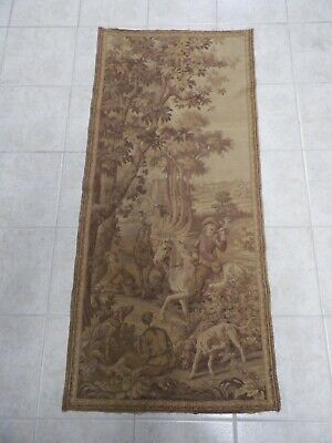 "Antique French Embroidered Hunting Tapestry Dogs Horses 1800's 26""x58"""