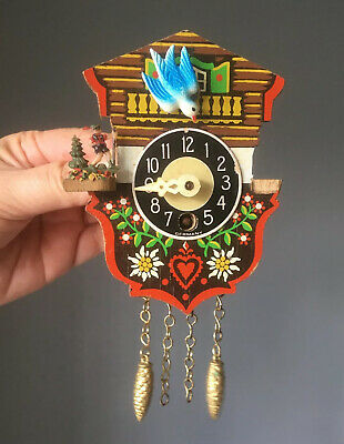 Vintage Engstler Mini Cuckoo Clock German Tree Mushroom Tree Men DAMAGED AS IS