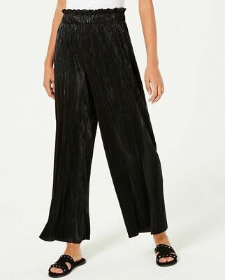 Be Bop Juniors Pleated Metallic Pants Shimmer Crinkle Wide Leg Black Size Xs
