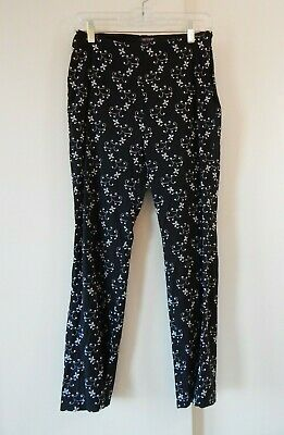 womens black KAREN KANE pants bootcut boot floral embroidered side zip medium 8