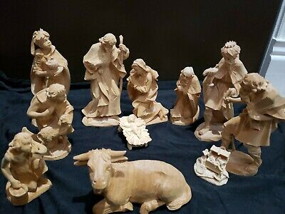 Beautiful Hand Carved Josef Buhner Oberammergau Germany 11 Piece Nativity Set
