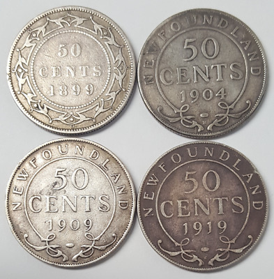 Newfoundland 50 cent Silver Halves 1899, 1904-H, 1909, 1919-C set of four