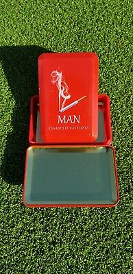 2 x PCS RED Stainless Steel Metal Cigarrette Box Case Tobbacco Tubes Holder