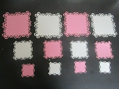 DIE CUT   CARD TOPPERS   12 pink & white