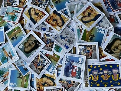 200 x UNFRANKED 2nd/SECOND CLASS XMAS STAMPS ON PAPER - FACE VALUE £122