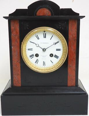 Antique French Mantel Clock Red Marble & Slate 8 Day Striking J W Benson London