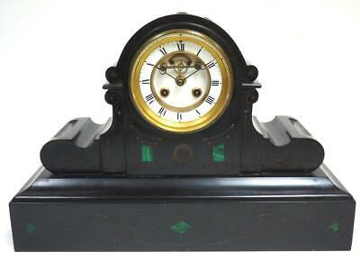 Antique French Mantel Clock Malachite & Slate 8 Day Striking Visible Escapement